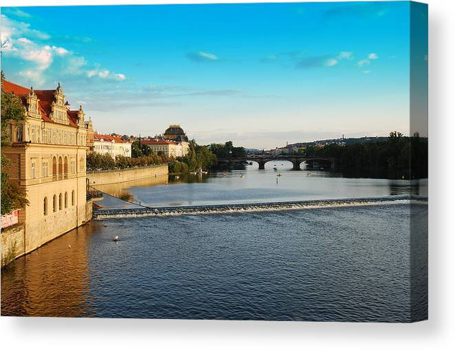 Prague Canvas Print featuring the photograph Charle's Or Carl's Bridge View In Prague by Evgeny Ivanov