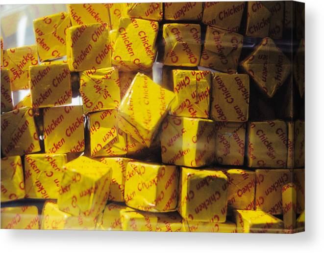 Still Life Canvas Print featuring the photograph Chicken Cubes by Jan Amiss Photography