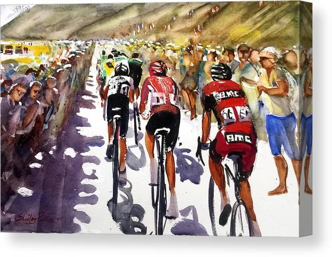 Le Tour De France Canvas Print featuring the painting Color And Movement At Le Tour De France by Shirley Peters