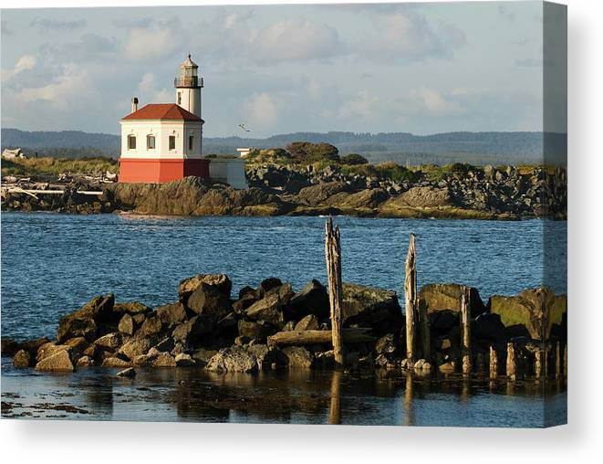 Oregon Canvas Print featuring the photograph Coquille River Lighthouse Bandon Oregon by Renee Hong
