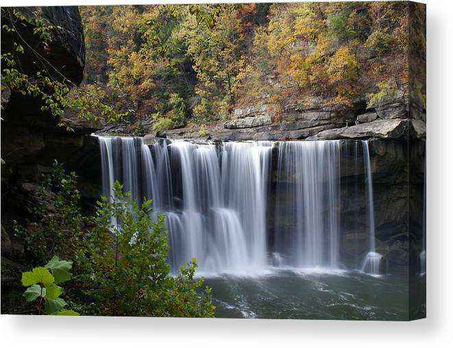 Landscape Canvas Print featuring the photograph Cumberland Falls In Green by Bj Hodges