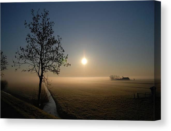 Dawn Canvas Print featuring the photograph Dutch Farm At Dawn by Hans Kool