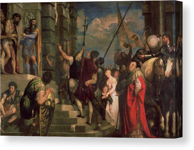 Titian Canvas Print featuring the painting Ecce Homo, 1543 by Titian