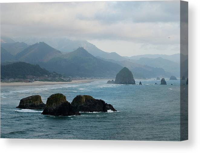 Oregon Canvas Print featuring the photograph Ecola State Park View Of Haystack Rock And 3 Arch Rocks by Renee Hong