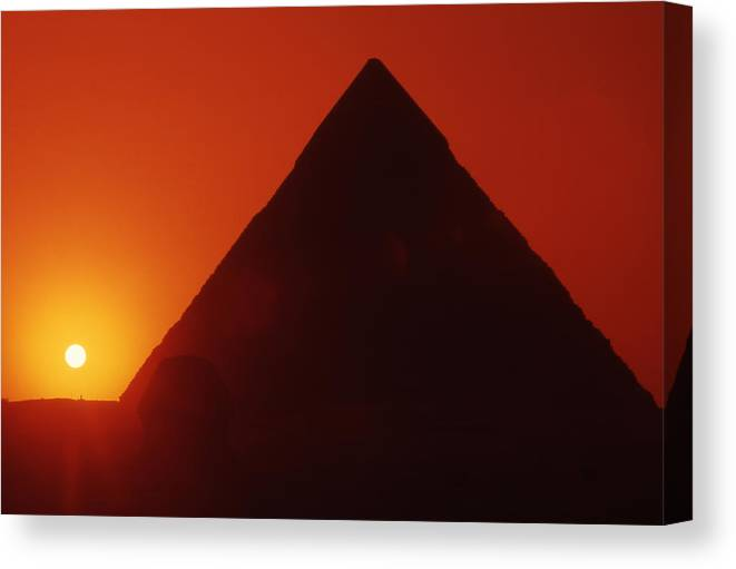 Ancient; Antiquity; Antiquated; Archaeology; Archaelogical; Atmospheric; Egypt Canvas Print featuring the photograph Egypt. Sunset Behind The Sphinx And Chephren Pyramid. by Steve Outram