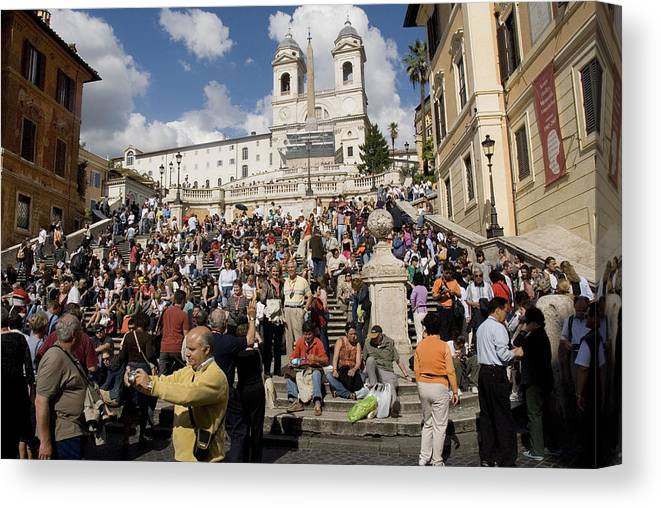 Spanish Steps Canvas Print featuring the photograph Famoust Spanish Steps In Rome by Charles Ridgway