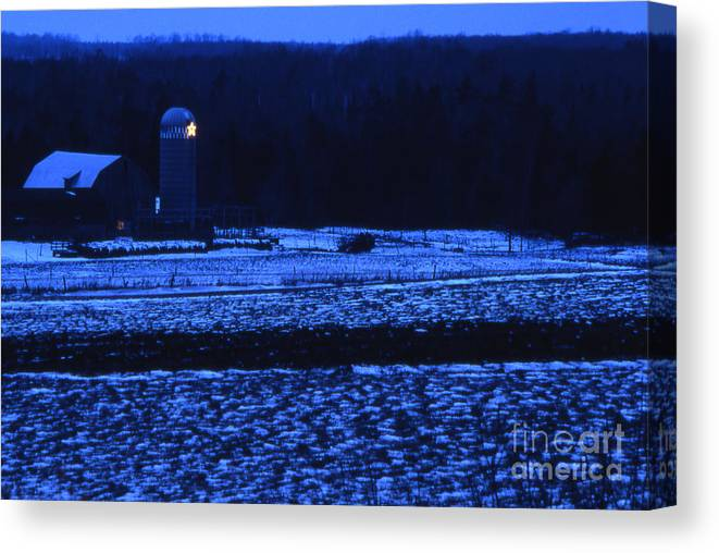 Barn Canvas Print featuring the photograph Farm At Christmas by Timothy Johnson