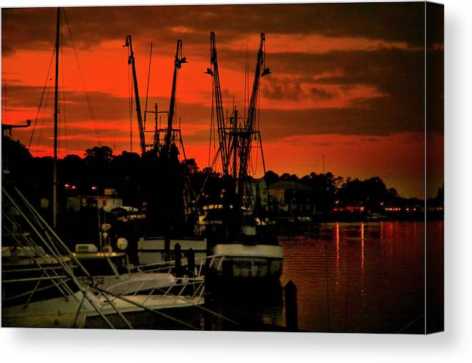 Color Photograph Canvas Print featuring the photograph Fire In The Sky by Wayne Denmark