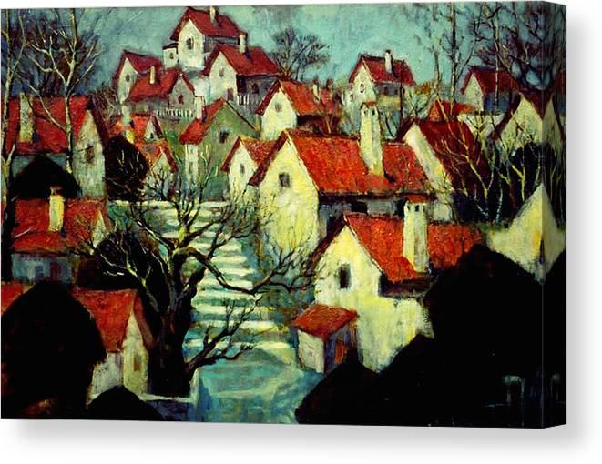Landscape Canvas Print featuring the painting Fishing Village by LoveyUp Gallery