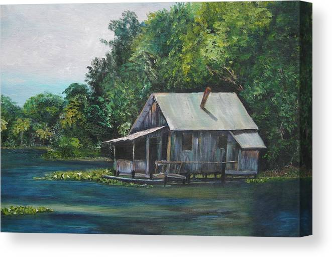 Florida Canvas Print featuring the painting Florida Fishing Shack by Lessandra Grimley