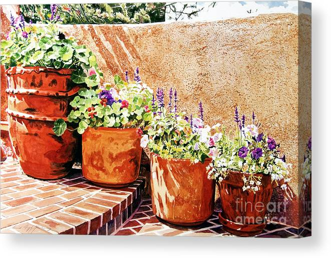 Patio Canvas Print featuring the painting Flower Pot Steps by David Lloyd Glover