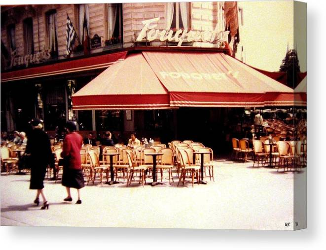 1955 Canvas Print featuring the photograph Fouquets Of Paris 1955 by Will Borden