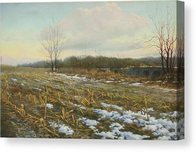 Landscape Canvas Print featuring the painting Frost by Stephen Bluto