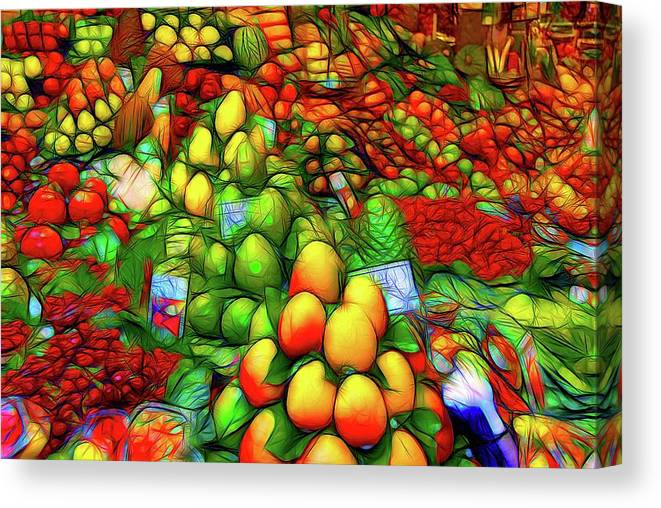 Abstract Art Canvas Print featuring the photograph Fruit Stand At La Boqueria by David Coleman
