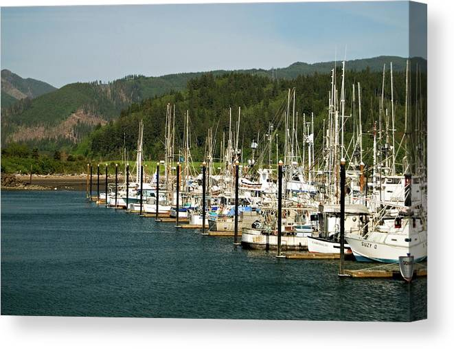 Oregon Canvas Print featuring the photograph Garibaldi Oregon Marina by Renee Hong