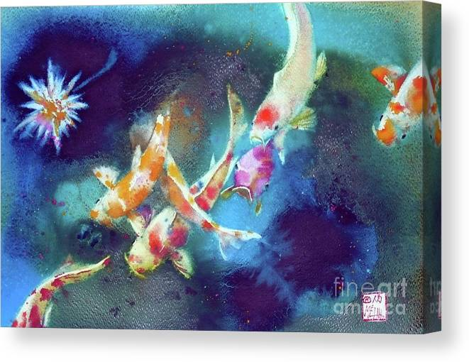 Watercolor Canvas Print featuring the painting Garland Of Koi Fishes by Andre MEHU