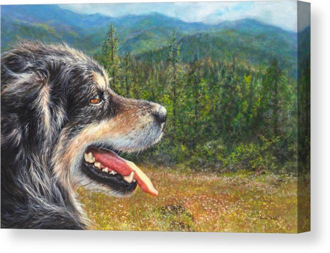 Dog Canvas Print featuring the painting Happy In Oregon by Donna Hillman Walsh