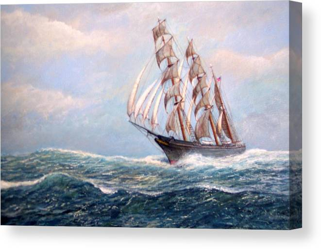 Tall Ships. Marine Art Canvas Print featuring the painting Headin' Home by William H RaVell III