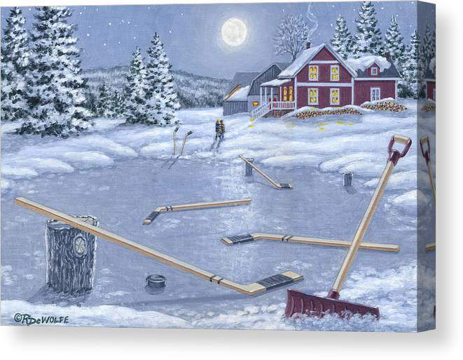 Hockey Canvas Print featuring the painting Home For Supper by Richard De Wolfe