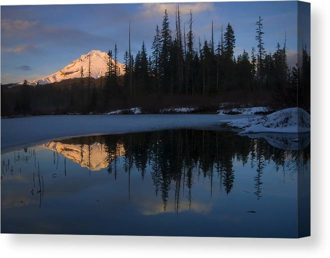 Mt. Hood Canvas Print featuring the photograph Hood Alpenglow by Mike Dawson