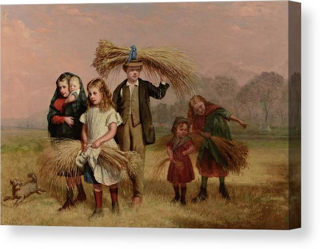 Hugh Collins (fl 1868-1891) 'children Returning Home From Gleaning' Canvas Print featuring the painting Hugh Collins by MotionAge Designs