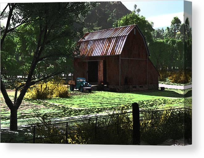 West Virgina Country Roads Mountain Mama Canvas Print featuring the digital art Jim Bob's Barn by Steven Palmer