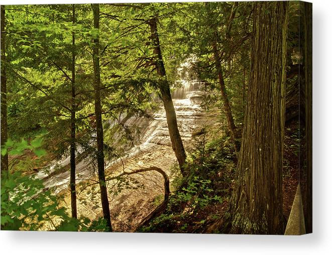 Laughing Whitefish Canvas Print featuring the photograph Laughing Whitefish Falls 2 by Michael Peychich