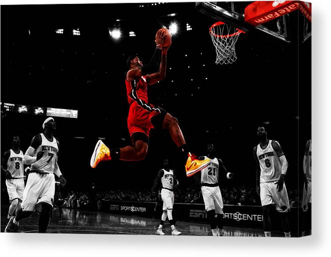 8c524ff59e74 Selective Color Canvas Print featuring the digital art Lebron James  Showtime by Brian Reaves