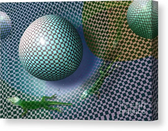Geometric Canvas Print featuring the digital art Lizard Tails by Peter Maricq