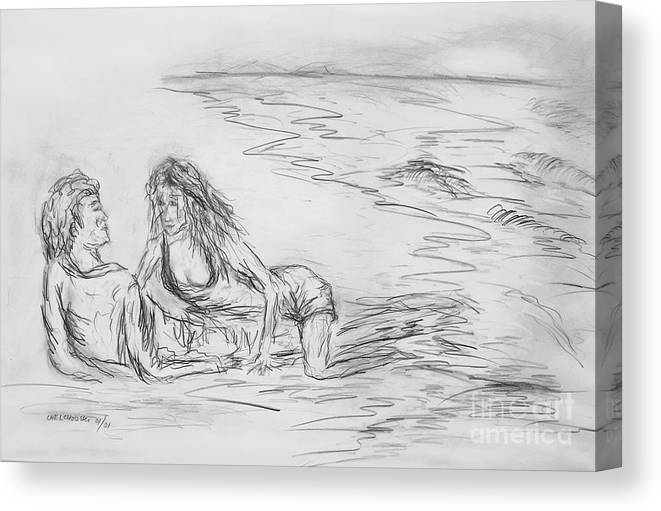 Lovers Man Woman Love Together You And Me On The Beach Lovers On The Beach Still Life  Canvas Print featuring the drawing lovers I by Miroslaw Chelchowski