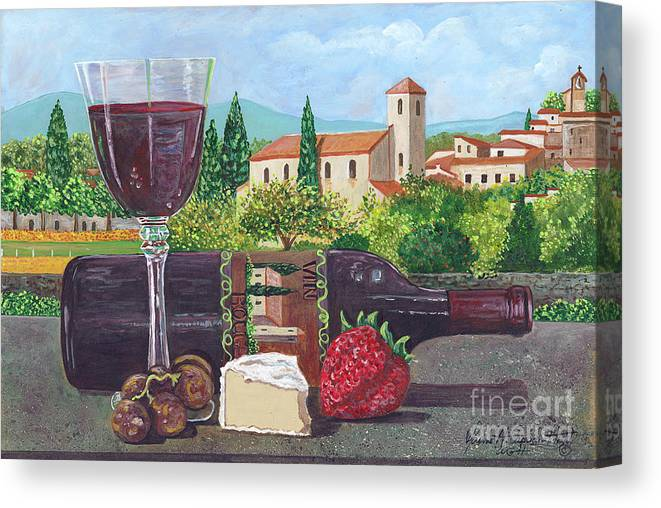 Lunch In Provence Canvas Print featuring the painting Lunch In Provence by Maxine Caprioli-Hight