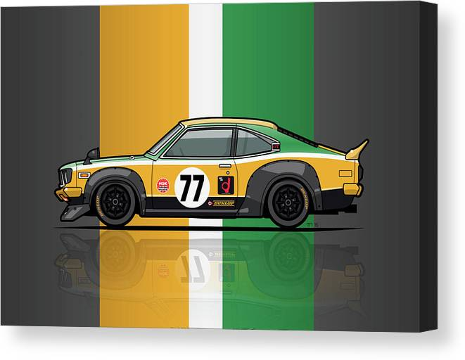 Car Canvas Print featuring the digital art Mazda Savanna Gt Rx3 Racing Yoshimi Katayama 1975 by Monkey Crisis On Mars