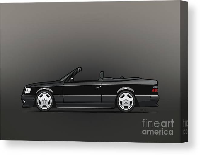 Mercedes Benz Amg A124 W124 300e E-class Black Cabrio Canvas Print