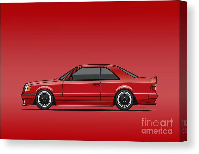 Mercedes W124 300e Red Amg Hammer Widebody Coupe Red Canvas Print