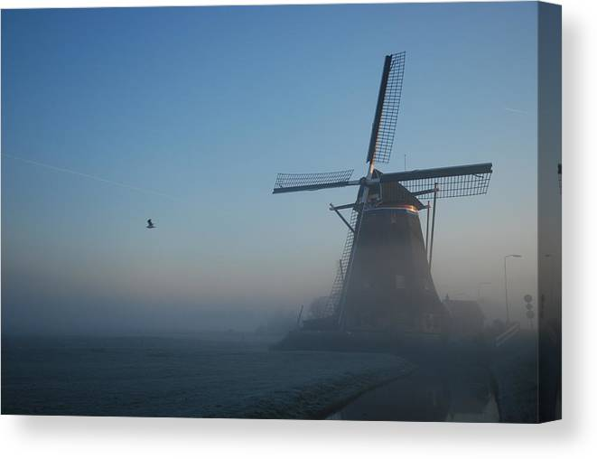 Dawn Canvas Print featuring the photograph Mill At Dawn by Hans Kool