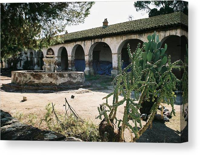 Landscape Canvas Print featuring the photograph Mission Center Of Yard by Edward Wolverton
