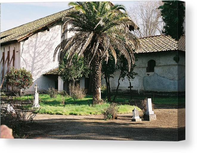 Landscape Canvas Print featuring the photograph Mission Side Entrance by Edward Wolverton