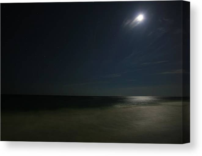 Night Canvas Print featuring the photograph Moon Over The Gulf by James Jones