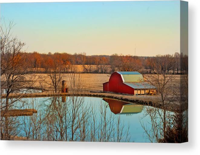 Barn Canvas Print featuring the photograph Morning Calm by Jolynn Reed