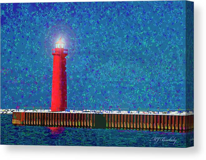 Lighthouse Canvas Print featuring the photograph Muskegon Lighthouse by Marti Buckely