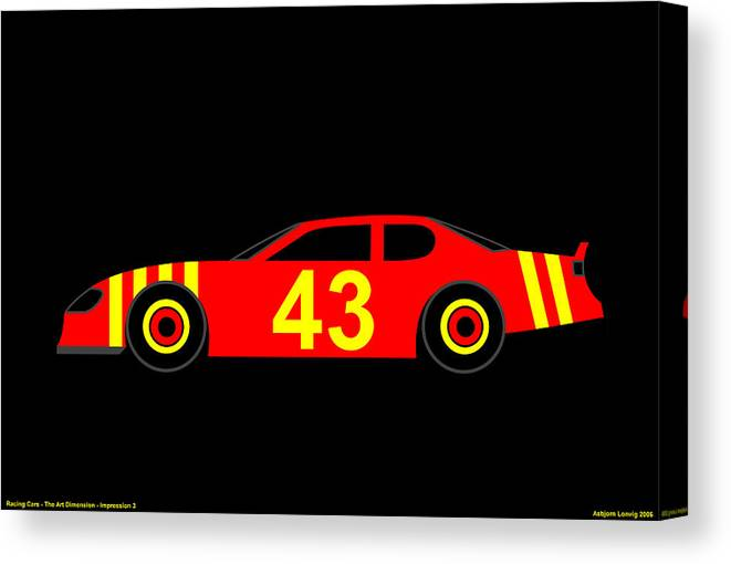 Nascar Canvas Print featuring the digital art Nascar by Asbjorn Lonvig