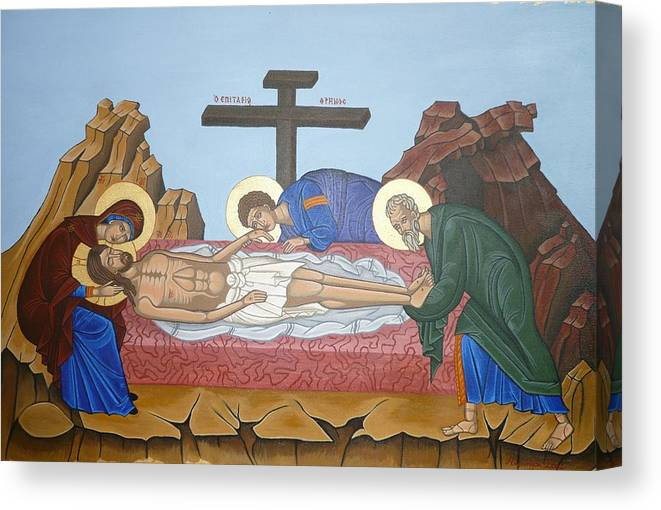 Marinella Owens Canvas Print featuring the painting O Epitafos Jesus by Marinella Owens
