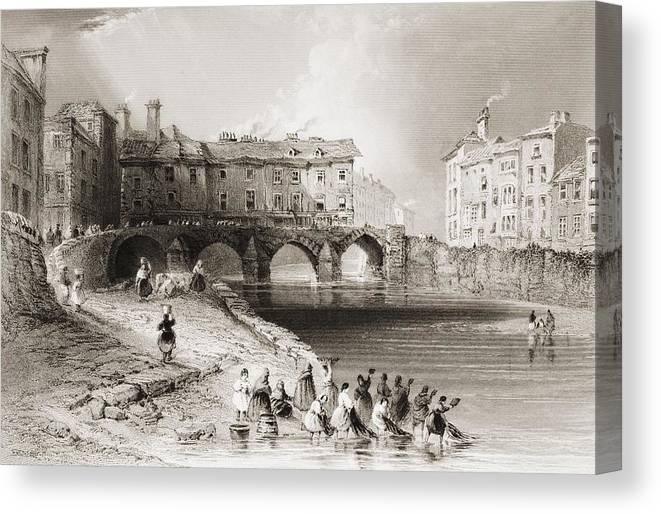 Historical Canvas Print featuring the drawing Old Boats Bridge, Limerick, Ireland by Vintage Design Pics