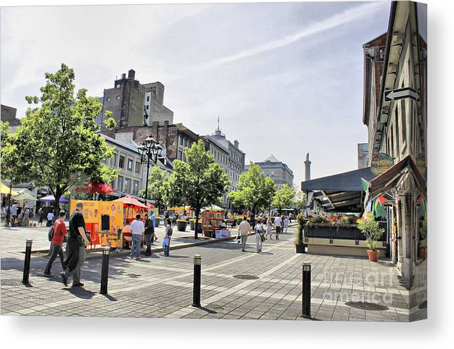 Montreal Canvas Print featuring the photograph Old Montreal June 2010 by Deborah Benoit