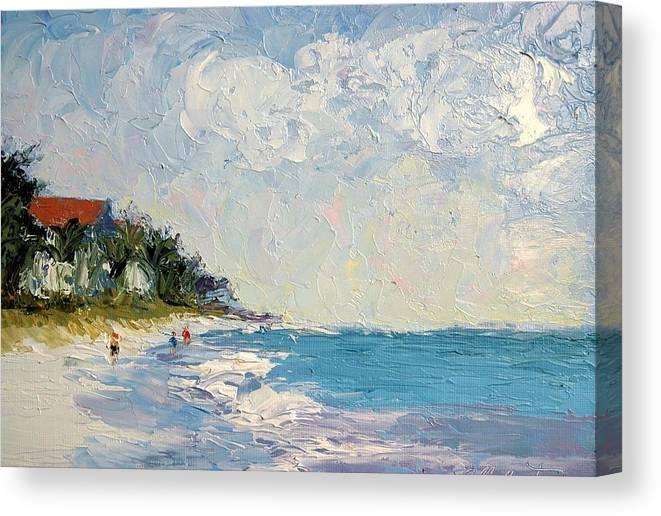 Seascape Canvas Print featuring the painting On The Beach by Colleen Murphy