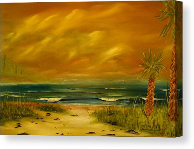 Sea Shore/palms/beach/skys Canvas Print featuring the painting Palm Island by Lorenzo Roberts