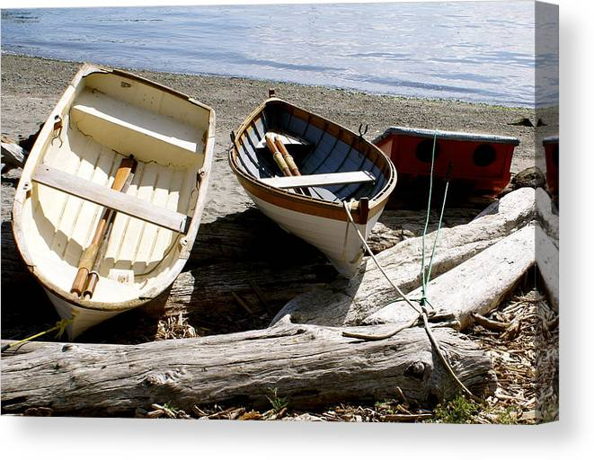Row Boats Canvas Print featuring the photograph Parked Boats by Sonja Anderson