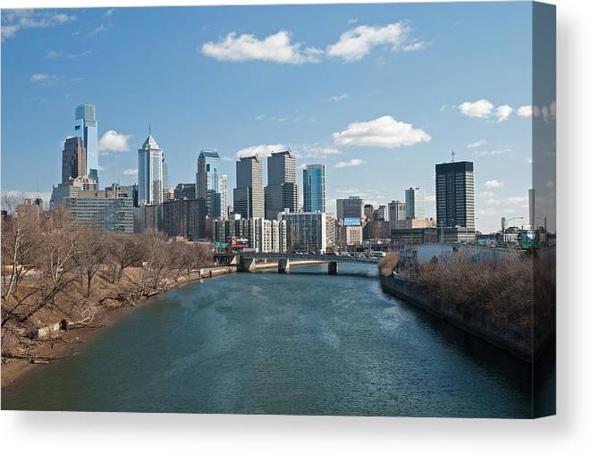 Philadelphia Canvas Print featuring the photograph Philly Winter by Jennifer Ancker
