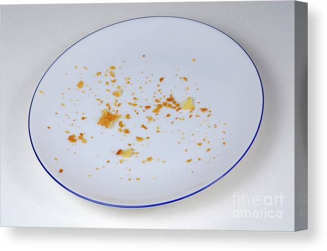 Absence Canvas Print featuring the photograph Pie Crumbs In An Empty Plate by Sami Sarkis