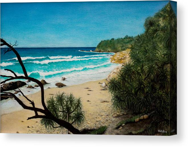 Seascape; Point Perry Canvas Print featuring the painting Point Perry Coolum Beach by Joe Michelli